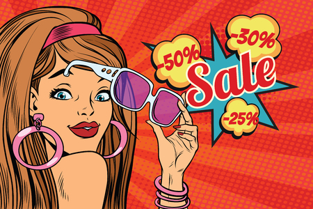 hot lips: beautiful young woman in sunglasses, surprise sale. Pop art retro vector illustration