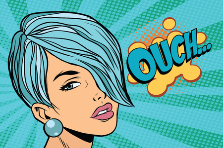 Calm beautiful woman with short hair, skeptical reaction ouch. Pop art retro vector illustration