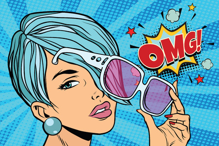 beautiful young woman in sunglasses, omg reaction. Pop art retro vector illustration Stock Illustratie