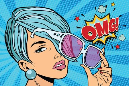 piękna młoda kobieta w okularach przeciwsłonecznych, reakcja omg. Ilustracja wektorowa retro pop-artu Ilustracje wektorowe