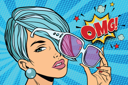 beautiful young woman in sunglasses, omg reaction. Pop art retro vector illustration Stock Photo