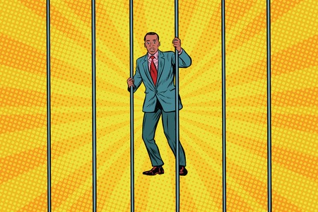 African Businessman in jail behind bars. Pop art retro vector illustration Imagens