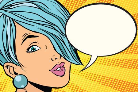 短い髪、漫画バブルの美しい女性。ポップアートのレトロなベクトル図