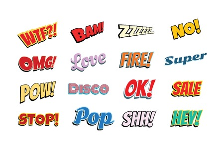 set of comic phrases. Pop art retro vector illustration