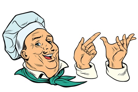 set French or Italian cook and hand gestures. Pop art retro comic book vector illustration Illustration