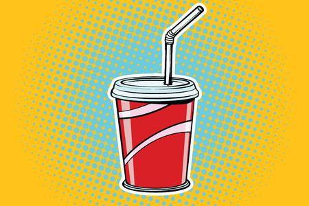 paper Cup fast food beverage. Pop art retro comic book vector illustration