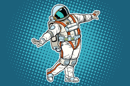 Astronaut dancing, funny gesture. Pop art retro comic book vector illustration