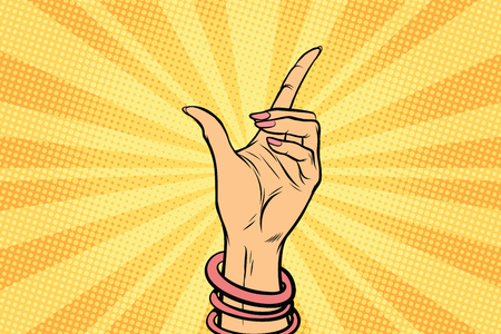female hand hold gesture. Pop art retro comic book vector illustration Stock Photo