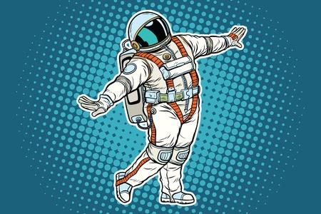 Astronaut dancing, funny gesture. Pop art retro comic book vector illustration