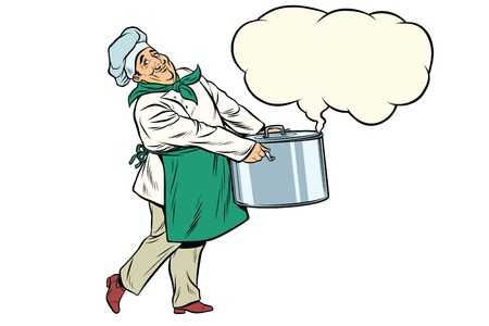Italian or French chef holding a hot pot, cloud of steam. Pop art retro comic book vector illustration