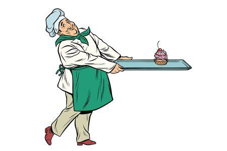 Chef cook brings a tray of dessert cupcake. Pop art retro comic book vector illustration Stock Photo