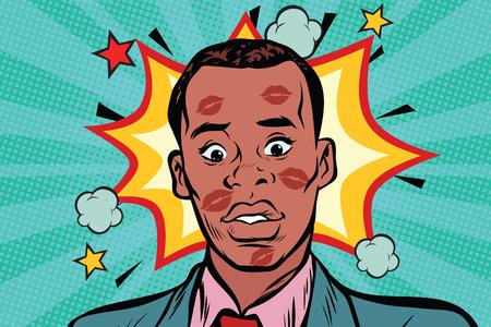 顔に口紅持つ恥ずかしいアフリカ男にキスをしました。愛と性的な裏切り。ポップアート レトロ漫画のベクトル図