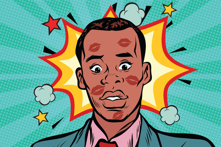 Kusde de verlegen Afrikaanse man met lippenstift op het gezicht. Liefde en seksuele verraad. Pop-art retro stripboek vectorillustratie