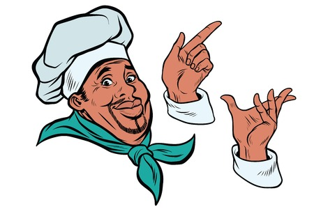 set African cook and hand gestures. Pop art retro comic book vector illustration