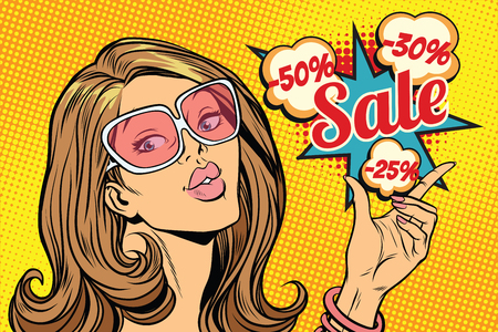 Beautiful hot sale woman. Pop art retro comic book vector illustration Zdjęcie Seryjne