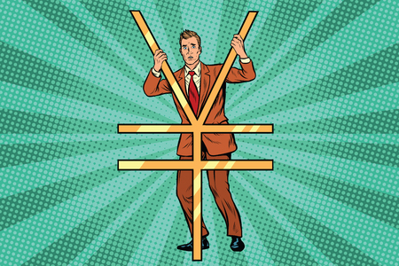 Businessman behind bars Ian money. Pop art retro comic book vector illustration Stock Photo