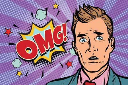 omg pop art man surprise illustration. Comic text bubble. Human emotions. retro comic book vector illustration Stok Fotoğraf