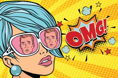 OMG Beautiful woman, the reflection of men in sunglasses. Pop art retro comic book vector illustration