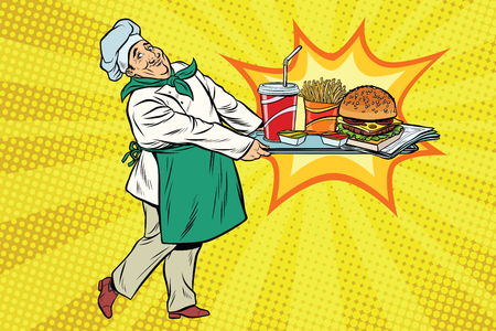 The chef brings a tray of fast food. Pop art retro comic book vector illustration