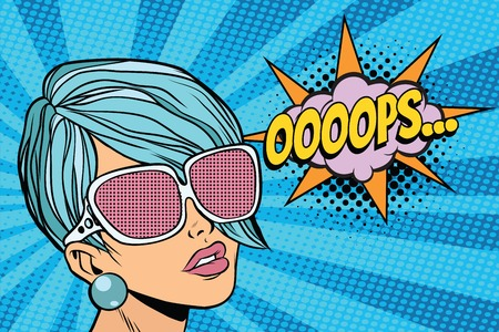 oops beautiful woman with opaque sunglasses. Pop art retro comic book vector illustration