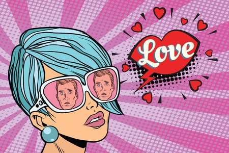 Love couple, reflection of men in sunglasses women. Pop art retro comic book vector illustration