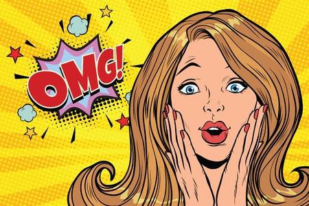 OMG glamorous kitsch pop art blond woman. Pop art retro comic book vector illustration
