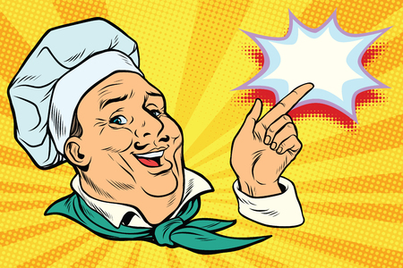chef points his finger gesture. Pop art retro comic book vector illustration