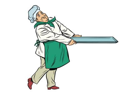 Chef cocinar con bandeja de comida. Pop art retro cómic ilustración vectorial Foto de archivo - 82767140