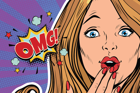 OMG surprised pop art woman face. Pop art retro comic book vector illustration Çizim