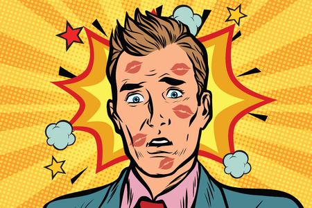 顔に口紅持つ恥ずかしい男にキスをしました。愛と性的な裏切り。ポップアート レトロ漫画のベクトル図  イラスト・ベクター素材
