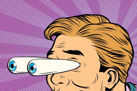 rysunkowe oczy wyskakujące, szok z zaskoczenia. Ilustracja wektorowa retro komiks pop-artu