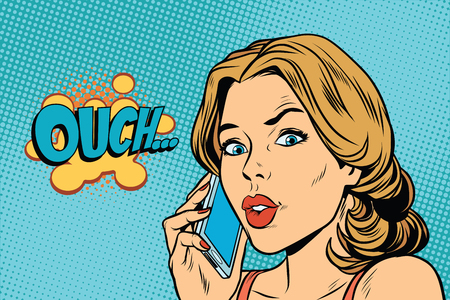 Ouch woman speaks on the smartphone. Pop art retro comic book vector illustration Illustration