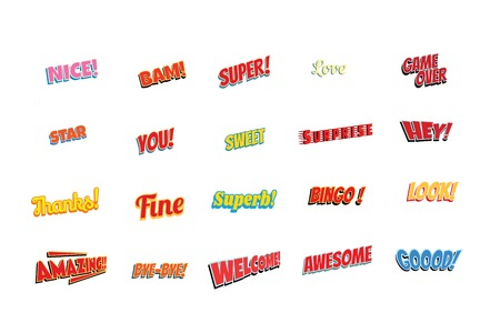 cartoon words label set isolated on a white background. nice bam super love game over star you sweet surprise hey thanks fine superb bingo look amazing bye welcome awesome good.