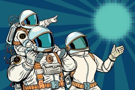 Astronautenfamilie, vadermoeder en kind. Ruimtereis. Pop art retro vectorillustratie Stockfoto