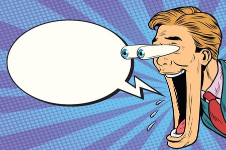 Cara de hombre de dibujos animados hiper reacción expresiva, ojos grandes y boca abierta. Burbuja cómica. Ilustración de vector de cómic retro pop art