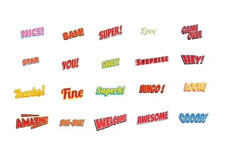 cartoon words label set isolated on a white background. nice bam super love game over star you sweet surprise hey thanks fine superb bingo look amazing bye welcome awesome good. Pop art retro vector illustration Stock Photo