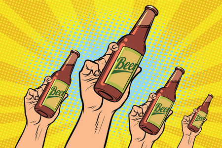 many hands with a bottle of beer