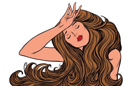 頭痛女性またはただの夢 写真素材