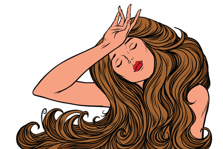 headache woman or just a dream Imagens - 83010424