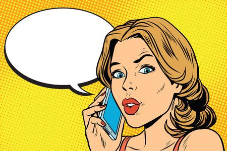 bezorgd vrouw praten over de smartphone Stockfoto