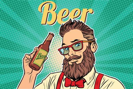 ひげを生やしたヒップスター ビール