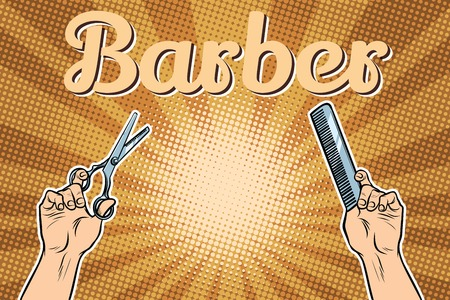 barber shop background, the hands with scissors and comb Stock Photo