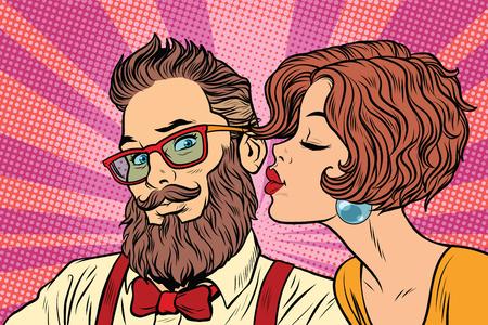 Heteroseksueel paar, mooie vrouw kussen een hipster
