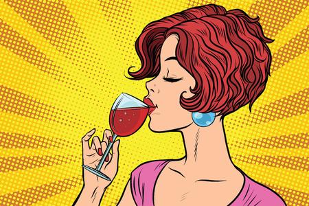 Vrouw die rode wijn drinkt Stockfoto