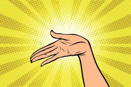 Women open palm hand hold gesture Stock fotó
