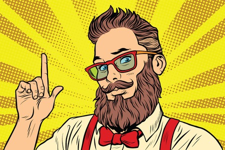 Bearded hipster man portrait pointing finger