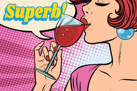 Super réaction. Femme buvant du vin rouge. Mot comique superbe. Illustration vectorielle rétro pop art Banque d'images - 83085759