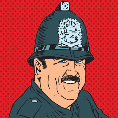 avatar portret van een Britse politieagent. Pop art retro vectorillustratie