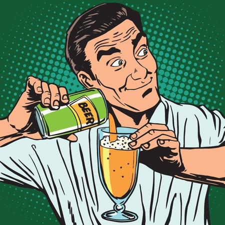 avatar portrait bartender pouring beer. Pop art retro vector illustration