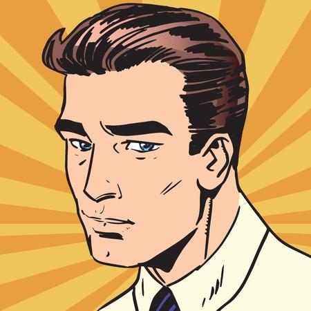 avatar portrait sad man. Pop art retro vector illustration